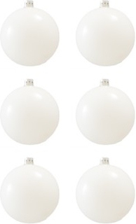 BasicsHome Julekugler Shiny Hvid 8 cm 6 stk