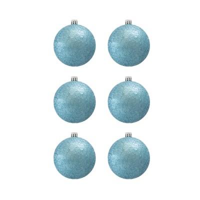 BasicsHome Joulupallo Ornaments Metallin vaaleansininen 8 cm 6 kpl