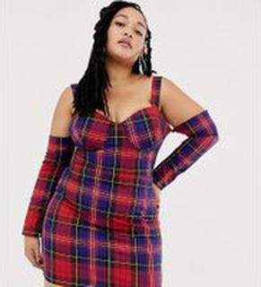 ASOS DESIGN x LaQuan Smith - Curve - Kort rutig off shoulder-klänning - Flera rutmönster
