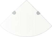 vidaXL Hörnhylla förkromade hyllkonsoler glas genomskinlig 35x35 cm