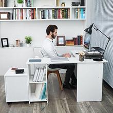Hjørneskrivebord, stort L-formet skrivebord med glidende tastaturhylde, 2 hylder