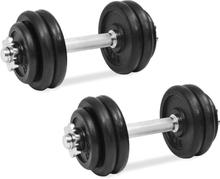 vidaXL Hantelset 18 delar 30 kg gjutjärn