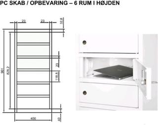 PC skab Opbevaring af laptop Uden EL 6 rum. Cylinderlås