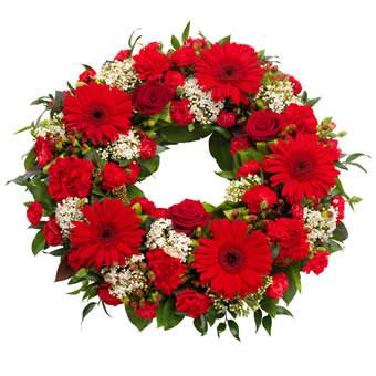 Rød begravelseskrans