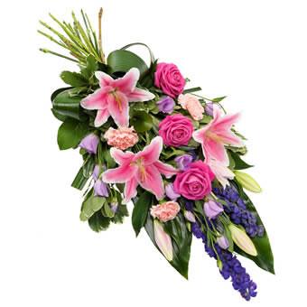 Bårebukett i rosa og lilla