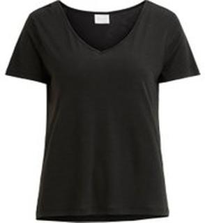 VILA V-ringad T-shirt Kvinna Svart