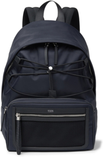 Leather-trimmed Ripstop Backpack - Midnight blue