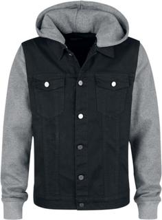 Forplay - Sweat Sleeved Hooded Denim Vest - Mellansäsongsjacka - svartmelerad