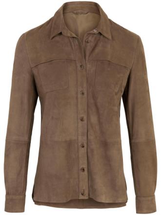 Skindskjorte i 100% gederuskind Fra Inkadoro beige - Peter Hahn