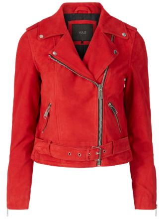 Y.A.S Suede Biker Leather Jacket Women Red