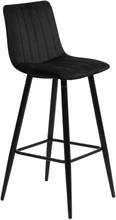 Enya sammet barstol i Svart med svarta ben och sitshöjd 65 cm