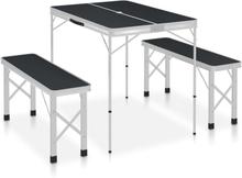 vidaXL foldbart campingbord med 2 bænke aluminium grå