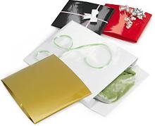 Lackpapier-Beutel mit Verschlussklappe gold 300 x 380 x 80 mm