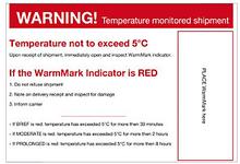 Warnetikett für Temperaturindikator WARM8