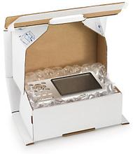 Stoßdämpfende Postkartons mit Sicherheitsverschluss weiß 250 x 150 x 100 mm