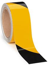 Set reflektierendes Signalband 50 mm x 10 m schwarz/gelb