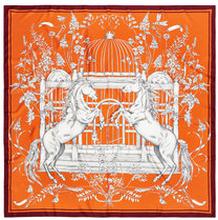 La Femme Silk Scarf Orange, 120X120