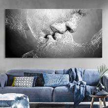Kuss-Zusammenfassung Kein Rahmen-Segeltuch-Anstrich-graues Hauptschlafzimmer-Wand-Kunst-Deko