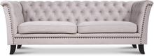 Milton Chesterfield 3-sits soffa - Beige sammet