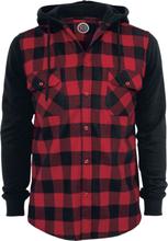 RED by EMP - Hooded Checked Flanell - Flanellskjorta - svart röd