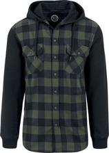 RED by EMP - Hooded Checked Flanell - Flanellskjorta - svart grön