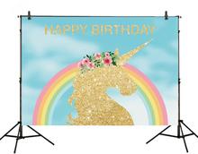7x5ft Vinyl Geburtstag Hintergrund Golden Einhorn Regenbogen Fotografie Hintergrund Prop