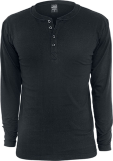 Urban Classics - Basic Henley - Långärmad tröja - svart