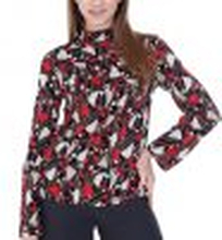 Multi Colored Red Top, Stand Up Collar