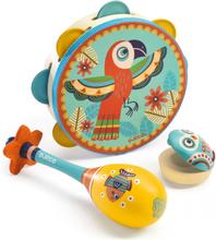 Musikinstrument - Tamburin, Maracas, Kastanjett (set om 3)