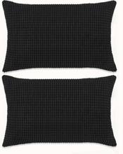 vidaXL Kudde 2 st velour svart 40x60 cm