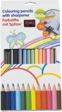 Färgpennor med pennvässare - 12 st