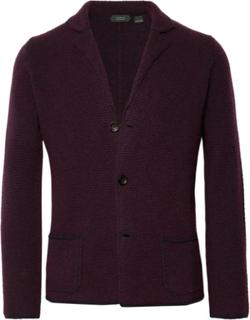 Textured Virgin Wool Cardigan - Burgundy