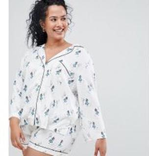 ASOS DESIGN Curve - Pyjamasset med shorts i Alice i underlandet-mönster och 100 % modal - Flerfärgad