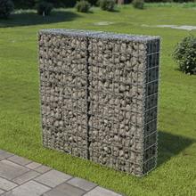 vidaXL gabionvæg med dæksler galvaniseret stål 100 x 20 x 100 cm