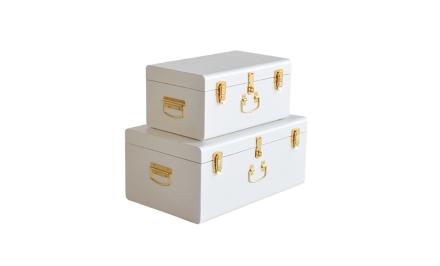 TIFFANY Koffert Vit x2 | Förvaringsmöbler