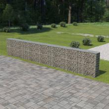 vidaXL gabionvæg med dæksler galvaniseret stål 600 x 30 x 100 cm