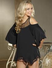 Black Hollow Shoulder Irregular Skirt