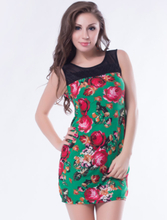 Green Flower Print Dresses Wholesale