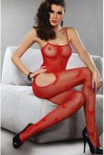 Red Heart Mesh Bodystocking