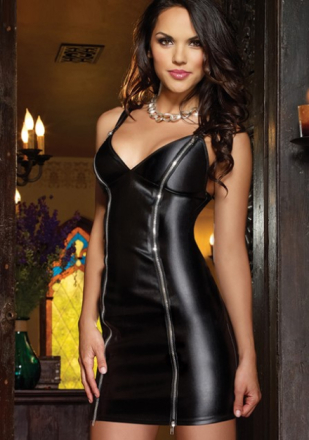 Front Zipper Faux Leather Dress