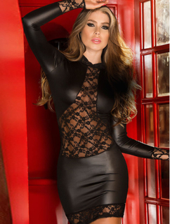 Vinyl And Lace Sleeved Dress