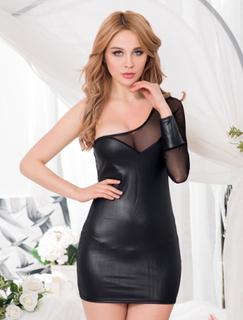 Leather Backless Black Dress