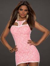 Pink Fully Lined Lace Bodycon Dress