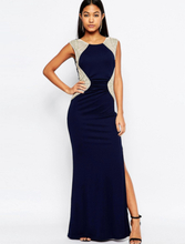 Navy Shimmering Sequins Pleated Maxi Dress