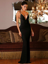 Black Mermaid Backless Floor-Length Dress