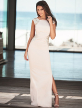 Cream-Coloured Shimmering Sequins Pleated Maxi Dress