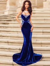 Dark Blue Strap Floor-Length Evening Dress