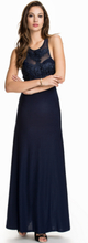 Dark Blue Embroidered Long Dress