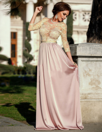 Apricot Transparent Embroidery Gown