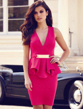 R70066- Bar Trim Peplum Dress